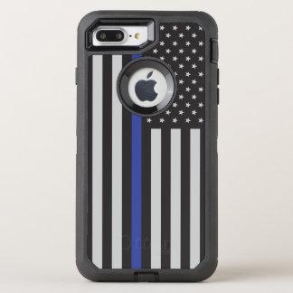 Coque Otterbox Defender Pour iPhone 7 Plus Soutenez le drapeau américain mince de Blue Line