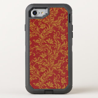 Coque Otterbox Defender Pour iPhone 7 Rouge et motif floral d'or