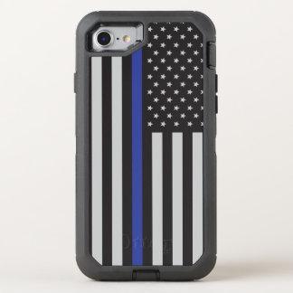 Coque Otterbox Defender Pour iPhone 7 Soutenez le drapeau américain mince de Blue Line
