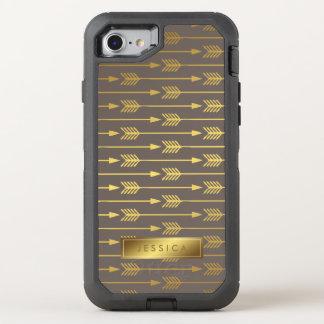 Coque Otterbox Defender Pour iPhone 7 Taupe et motif imprimé de flèches d'or