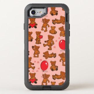 Coque Otterbox Defender Pour iPhone 7 Texture avec le nounours, coeurs