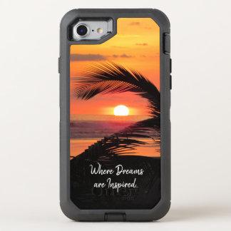 Coque Otterbox Defender Pour iPhone 7 Vue tropicale de plage de coucher du soleil