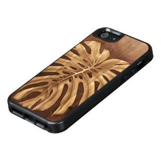 Coque OtterBox iPhone 5, 5s Et SE Cas en bois d'Otterbox d'art de tache de Monstera