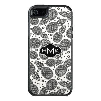 Coque OtterBox iPhone 5, 5s Et SE Monogramme monochrome des ananas |