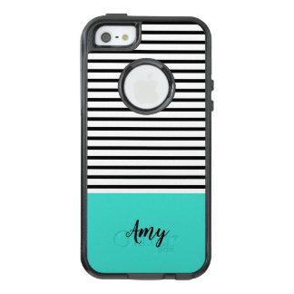 Coque OtterBox iPhone 5, 5s Et SE Nom blanc noir de coutume de motif de rayure de