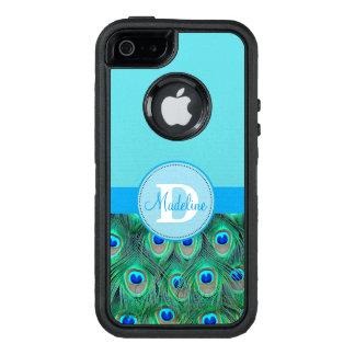 Coque OtterBox iPhone 5, 5s Et SE Paon et caisse décorée d'un monogramme bleue