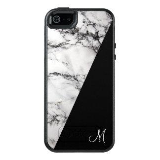 Coque OtterBox iPhone 5, 5s Et SE Pierre de marbre grise de monogramme et noire