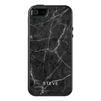 Coque OtterBox iPhone 5, 5s Et SE Texture de marbre noire avec le nom fait sur