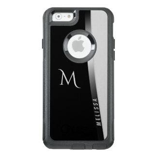 Coque OtterBox iPhone 6/6s Argent blanc noir élégant, nom et monogramme