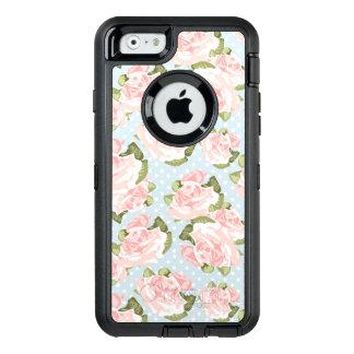 Coque OtterBox iPhone 6/6s Beau motif de rose avec le pois bleu