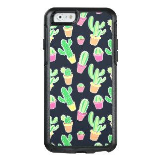 Coque OtterBox iPhone 6/6s Cactus au néon d'aquarelle dans le motif de pots