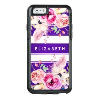 Coque OtterBox iPhone 6/6s Caisse florale chic pourpre de l'iPhone 6