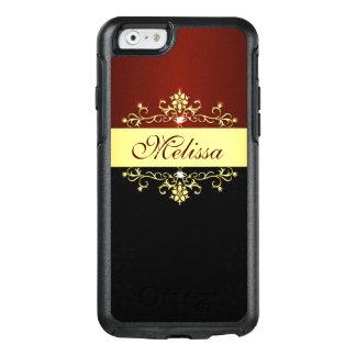 Coque OtterBox iPhone 6/6s Caisse noire rouge de l'iPhone 6/6s d'OtterBox