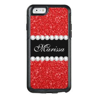 Coque OtterBox iPhone 6/6s Caisse rouge de l'iPhone 6/6s d'Otterbox de noir