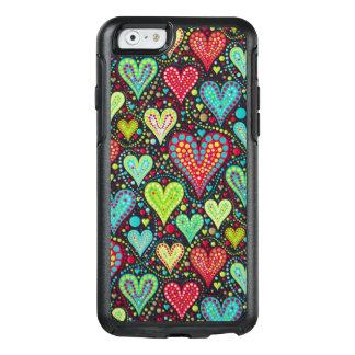 Coque OtterBox iPhone 6/6s Coeurs et conception colorés doux de points