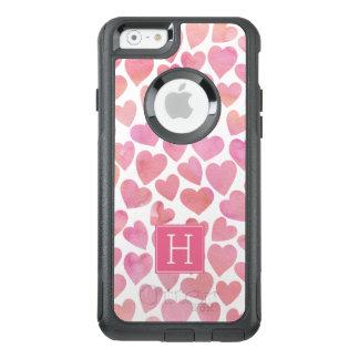 Coque OtterBox iPhone 6/6s Coeurs roses d'aquarelle décorés d'un monogramme
