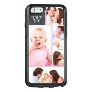 Coque OtterBox iPhone 6/6s Collage décoré d'un monogramme rose Girly de 5
