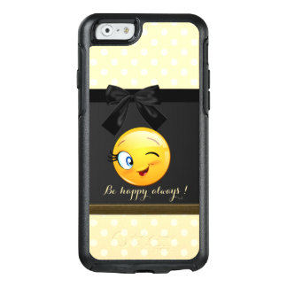 Coque OtterBox iPhone 6/6s Emoji souriant clignotant adorable font face, pois