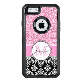 Coque OtterBox iPhone 6/6s Girly, rose, scintillent la damassé noire
