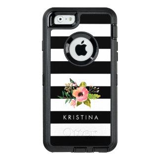 Coque OtterBox iPhone 6/6s Le blanc noir classique barre le nom fait sur