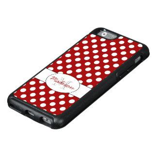 Coque OtterBox iPhone 6/6s Monogramme blanc rouge à la mode de pois