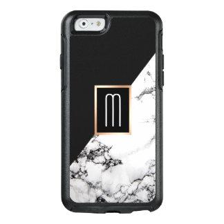 Coque OtterBox iPhone 6/6s Monogramme de marbre blanc noir unique moderne de