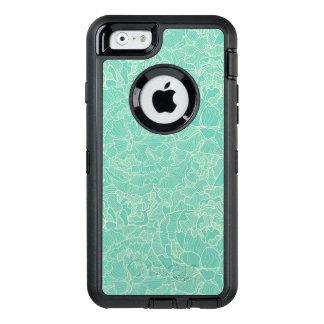 Coque OtterBox iPhone 6/6s Motif de pivoine de turquoise