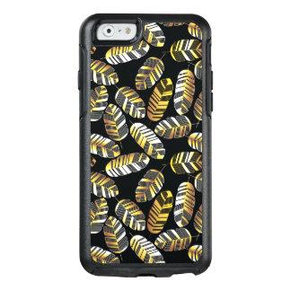 Coque OtterBox iPhone 6/6s Motif d'or noir de feuille de plume d'art déco