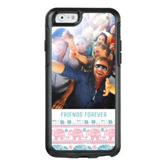 Coque OtterBox iPhone 6/6s Motif rose et turquoise fait sur commande de photo