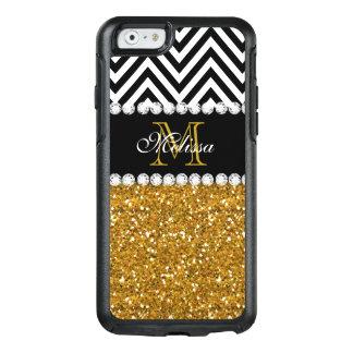 Coque OtterBox iPhone 6/6s Noir Chevron blanc de scintillement d'or décoré