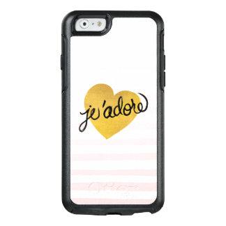 Coque OtterBox iPhone 6/6s Noir de la citation   de J'adore et coeur d'or