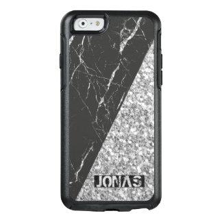 Coque OtterBox iPhone 6/6s Parties scintillantes argentées modernes et pierre