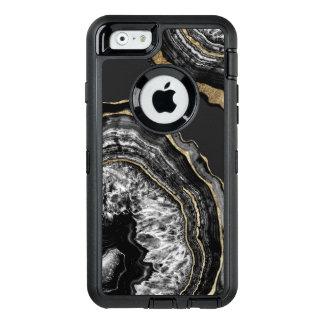 Coque OtterBox iPhone 6/6s Pierre noire et blanche de Geode d'agate d'or