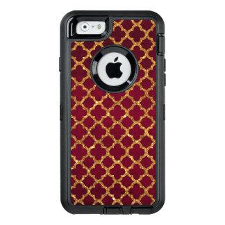 Coque OtterBox iPhone 6/6s Quatrefoil chic Bourgogne rouge girly d'or de faux