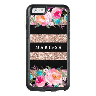 Coque OtterBox iPhone 6/6s Rayure noire florale d'or de rose rose de parties