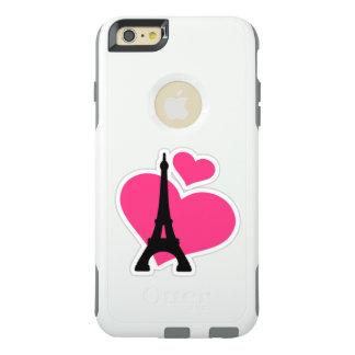 Coque OtterBox iPhone 6 Et 6s Plus Beaux coeurs roses d'amour avec Tour Eiffel