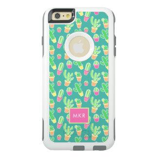 Coque OtterBox iPhone 6 Et 6s Plus Cactus au néon d'aquarelle dans le motif de pots