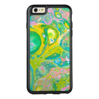 Coque OtterBox iPhone 6 Et 6s Plus L'acrylique de vert et de rose versent l'art