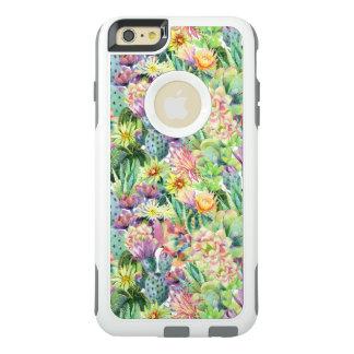 Coque OtterBox iPhone 6 Et 6s Plus Motif de floraison exotique de cactus d'aquarelle