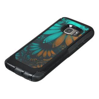 Coque OtterBox Samsung Galaxy S7 Beau Teal et plumes oranges de fractale de Paisley
