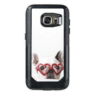 Coque OtterBox Samsung Galaxy S7 Bouledogue français en verres de coeur