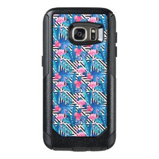 Coque OtterBox Samsung Galaxy S7 Flamant et paumes sur le motif géométrique