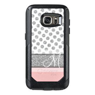 Coque OtterBox Samsung Galaxy S7 Le monogramme argenté de point de polka de