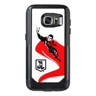 Coque OtterBox Samsung Galaxy S7 Ligue de justice | Superman pilotant l'art de