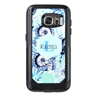 Coque OtterBox Samsung Galaxy S7 Monogramme nommé bleu de l'impression w/Full de