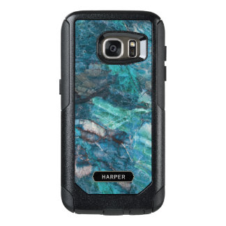 Coque OtterBox Samsung Galaxy S7 Motif de marbre bleu exotique avec votre nom