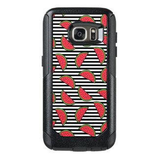 Coque OtterBox Samsung Galaxy S7 Pastèque sur le motif noir et blanc de rayures