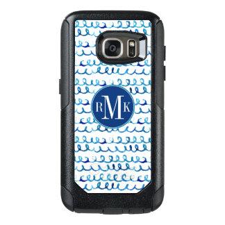 Coque OtterBox Samsung Galaxy S7 Profil onduleux d'aquarelle bleue peinte à la main