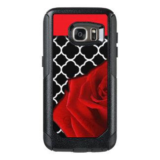 Coque OtterBox Samsung Galaxy S7 Rose rouge et motif de Quatrefoil
