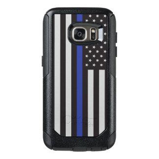 Coque OtterBox Samsung Galaxy S7 Soutenez l'Américain mince de Blue Line de police